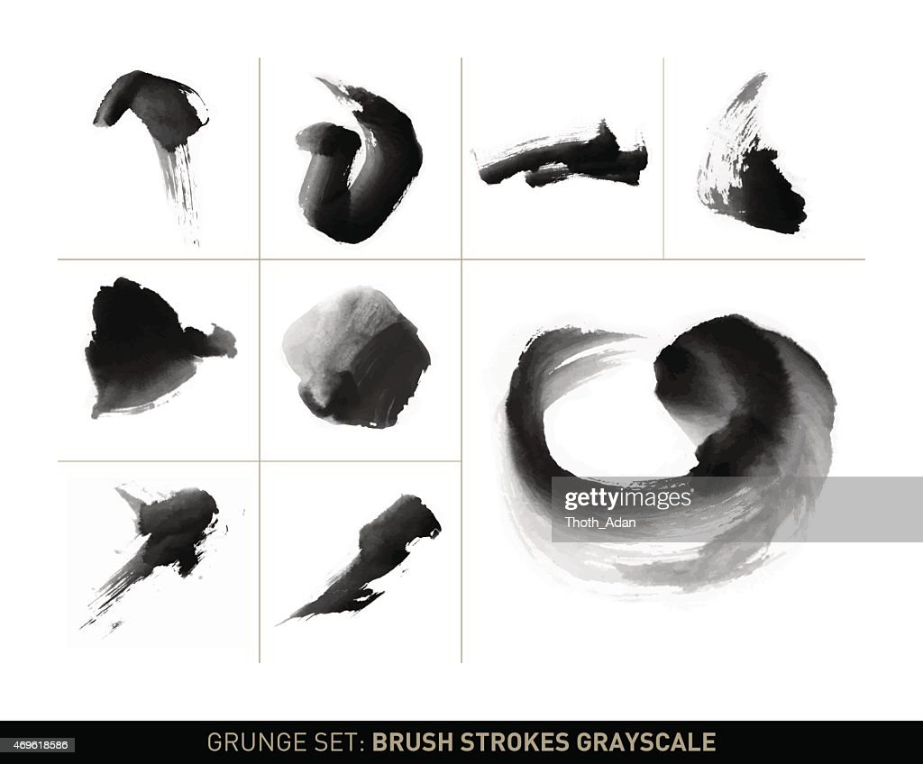 Grunge set: Dynamic brush stroke movements in grayscale