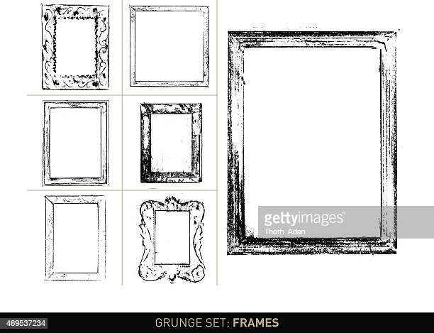 grunge set: frame elements and borders in b/w - construction frame stock illustrations