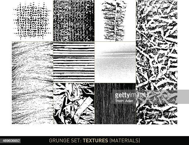 Grunge set: Material textures and backgrounds in b/w