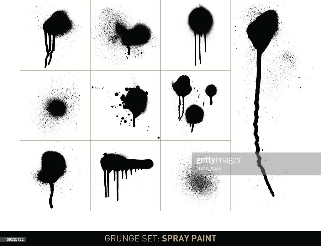 Grunge set: Spray paint in b/w