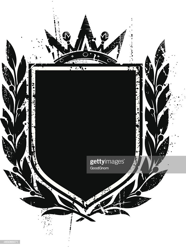 A grunge shield in black on a white background