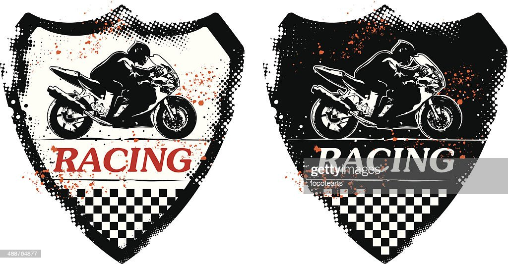 grunge shield with racing super bike and rider