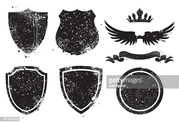 grunge shileds - shielding stock illustrations