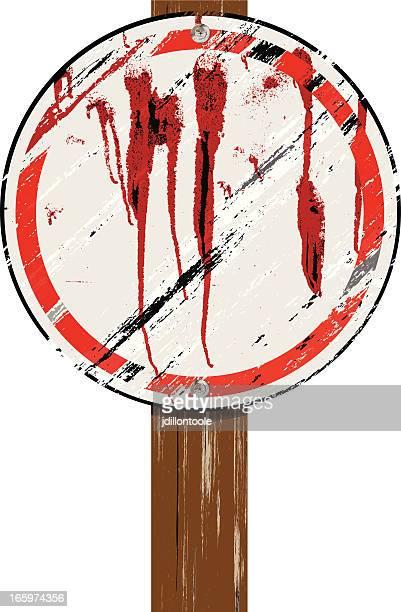 Grunge Holz Schild auf Post/Runde