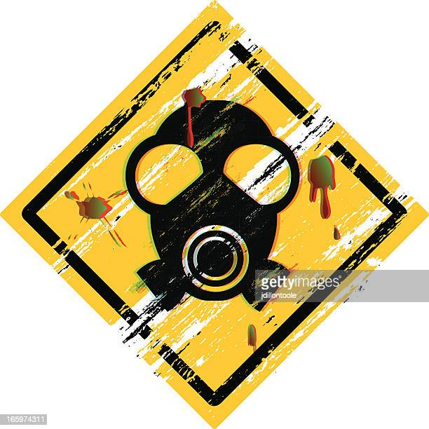 grunge sign | radioactive - radioactive contamination stock illustrations