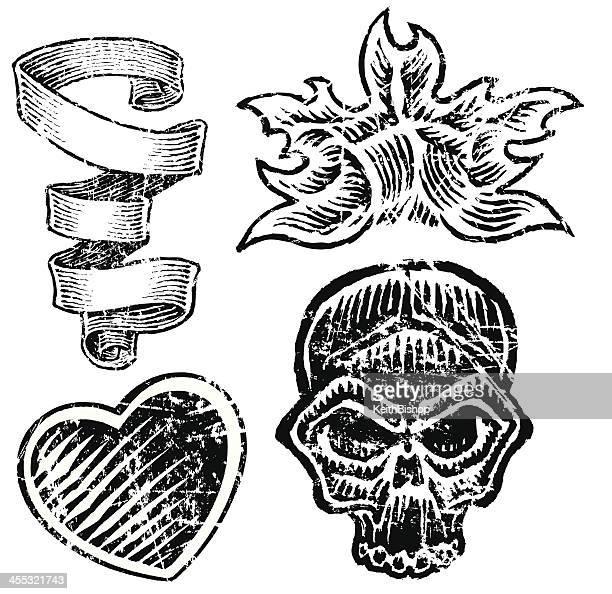 grunge skull, heart, flame, ribbon - tattoo art - run down stock illustrations, clip art, cartoons, & icons