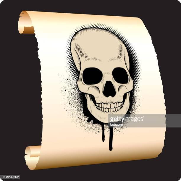 Grunge cráneo en papel de desplazamiento