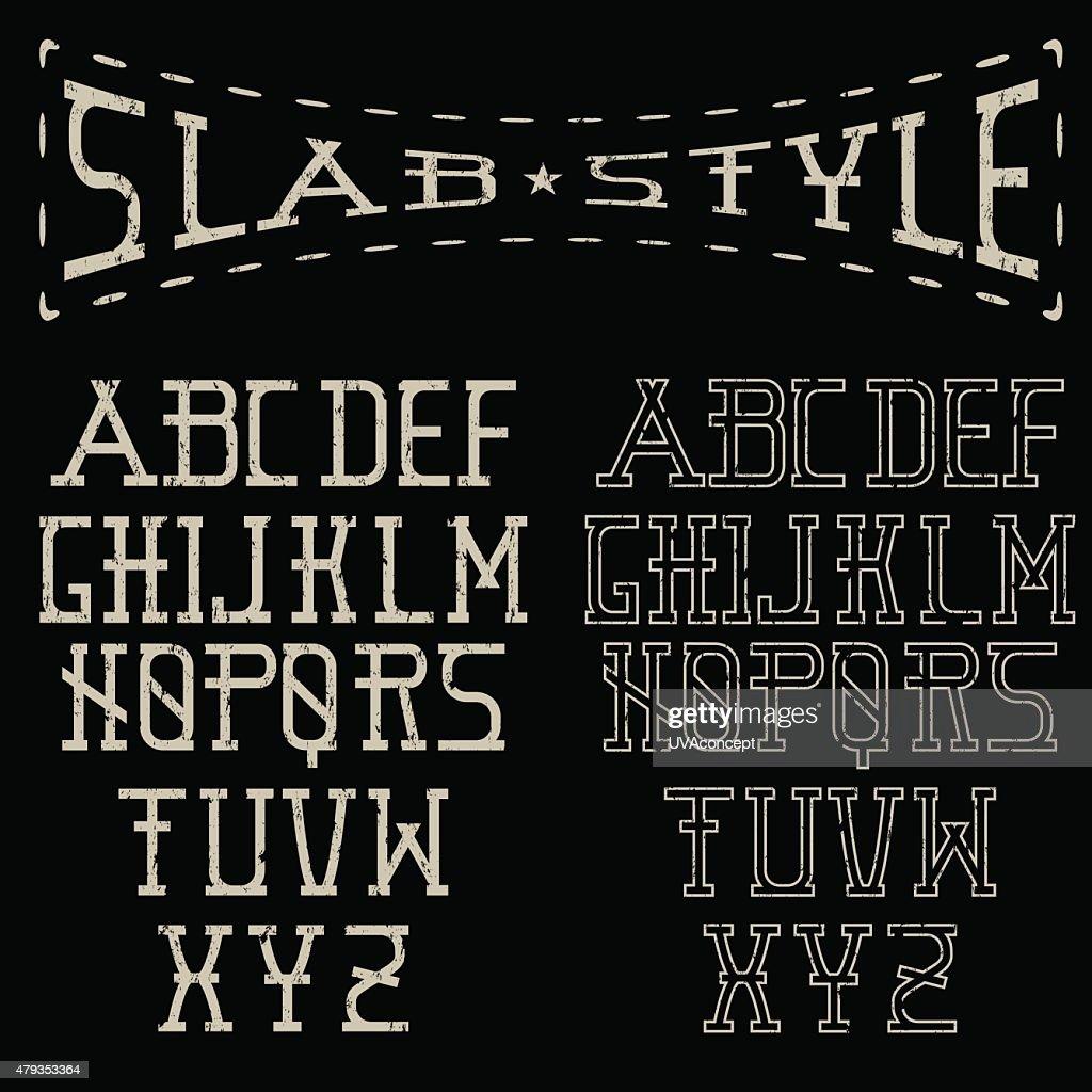 grunge slab style alphabet