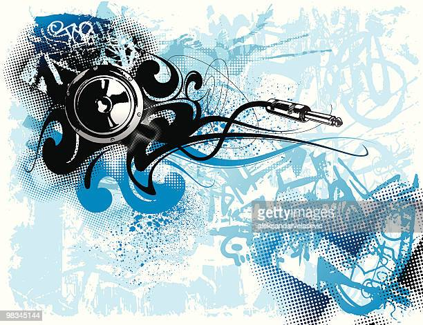 grunge sound - bass instrument stock illustrations, clip art, cartoons, & icons