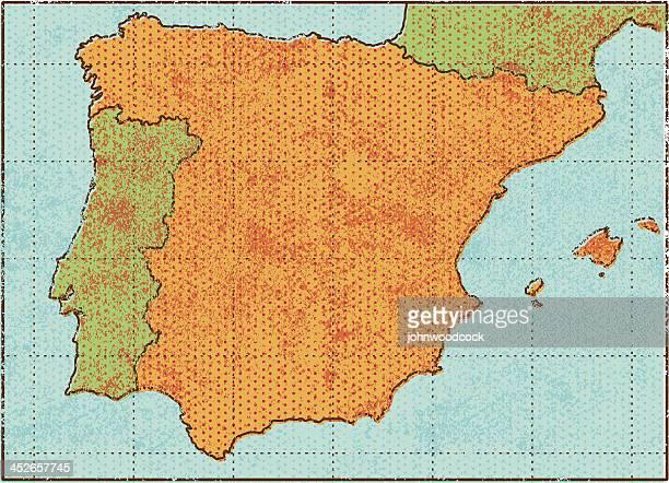 grunge karte von spanien - portugal stock-grafiken, -clipart, -cartoons und -symbole