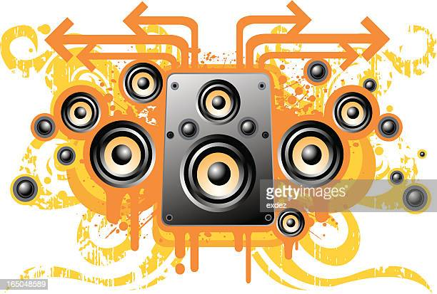 grunge speaker design - bass instrument stock illustrations, clip art, cartoons, & icons