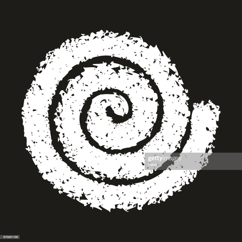 Grunge spiral symbol on black background