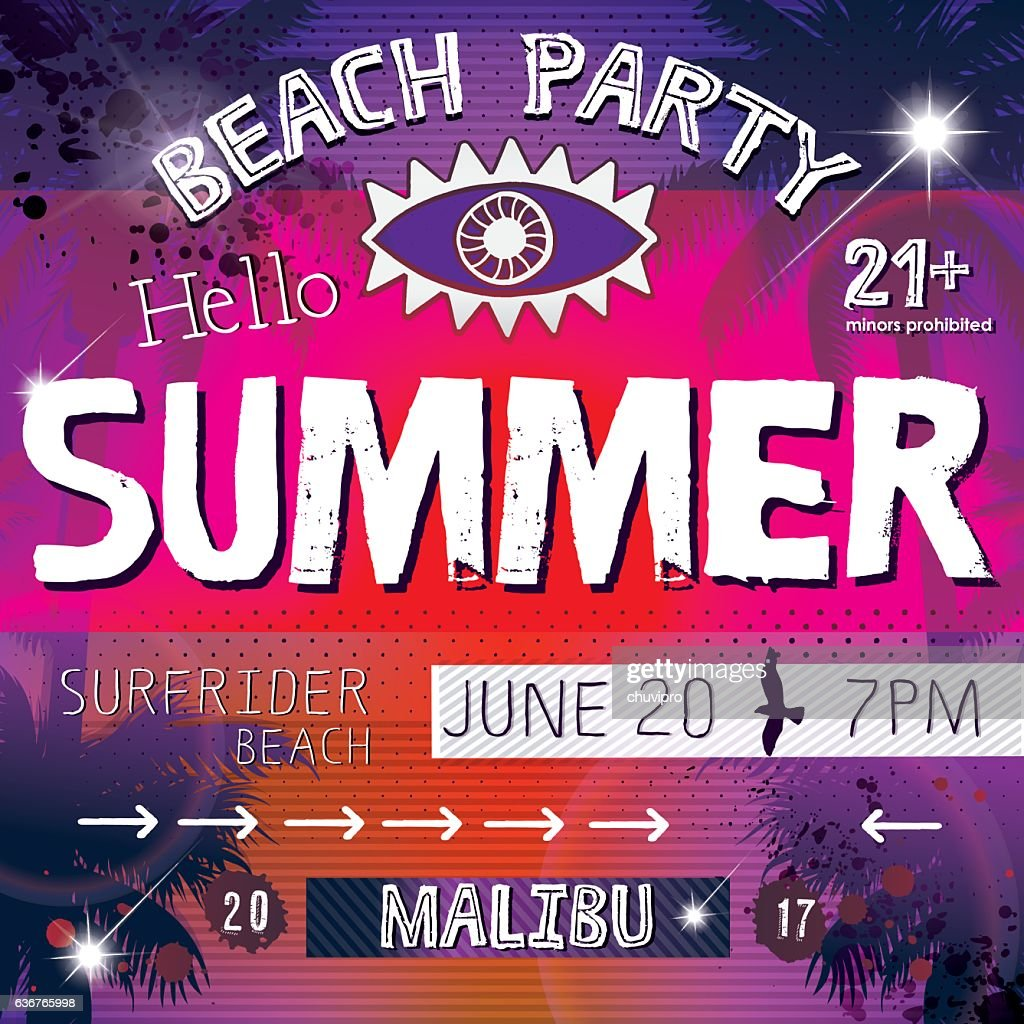 grunge square flyer card hello summer beach party ベクトルアート