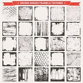 Grunge Square Frames Backgrounds Vector