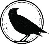 Grunge stamp with crow silhouette