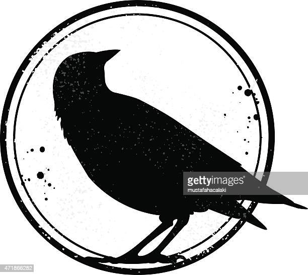 grunge stamp with crow silhouette - crow stock illustrations