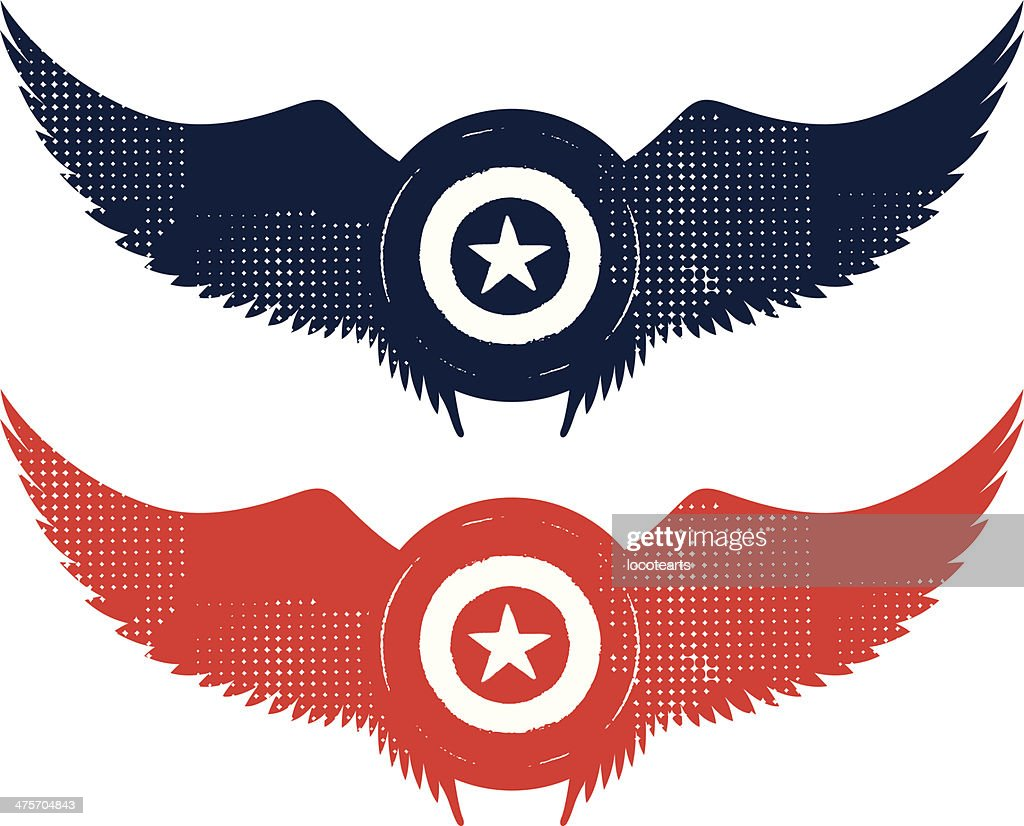 grunge star shield with wings