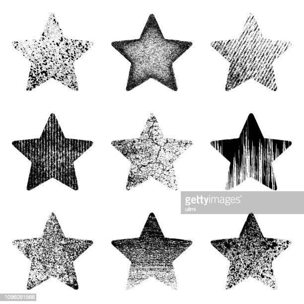 grunge stars - star shape stock illustrations