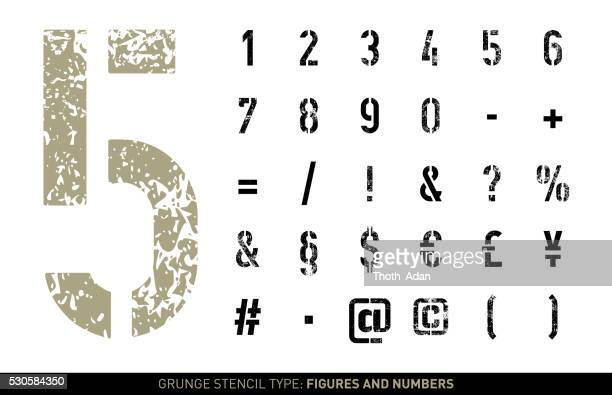 grunge stencil numbers and signs - stencil stock illustrations
