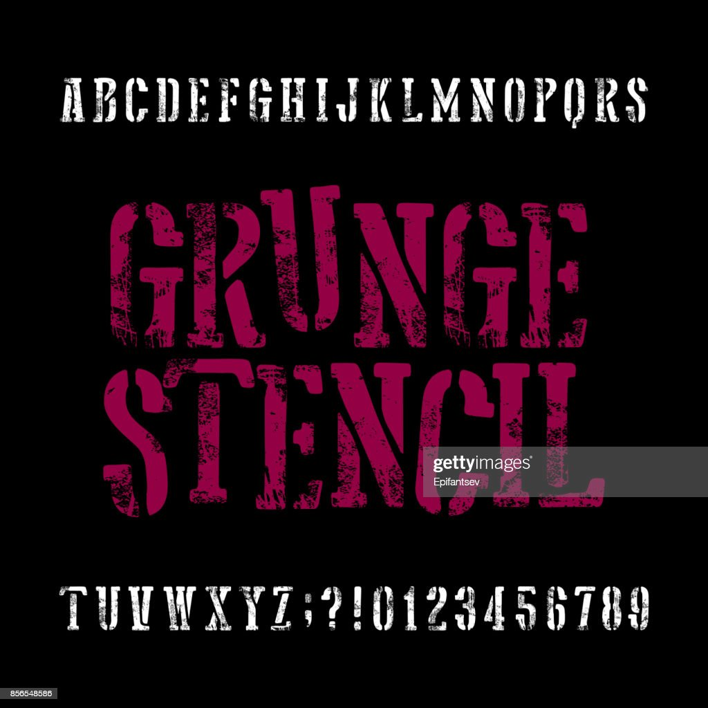 Grunge stencil typeface. Retro alphabet font. Scratched letters and numbers.