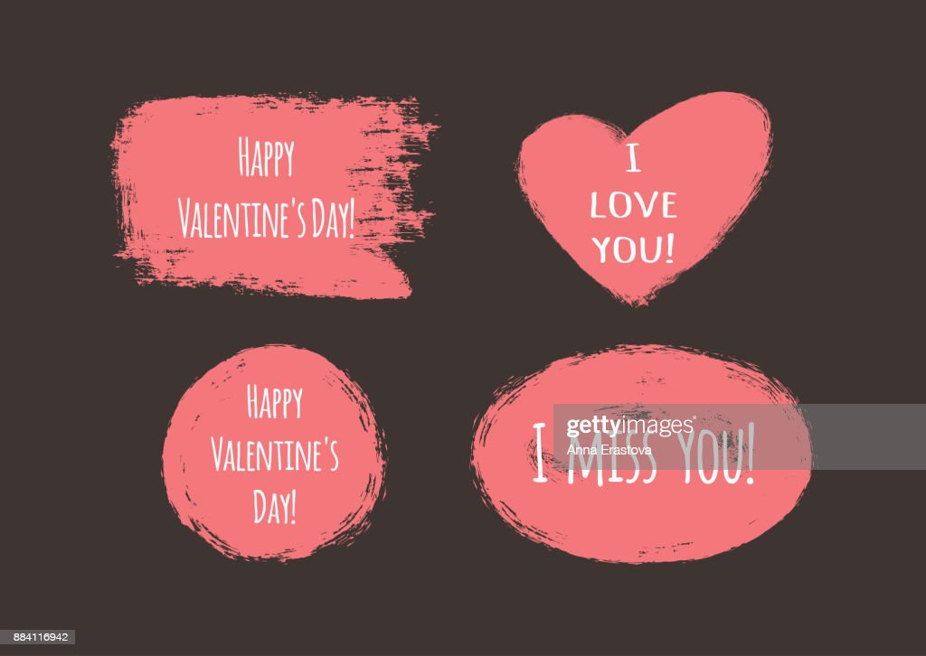 Grunge Stickers Met De Tekst Happy Valentines Day I Love You I Miss