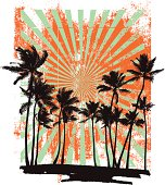 grunge summer background with many palms