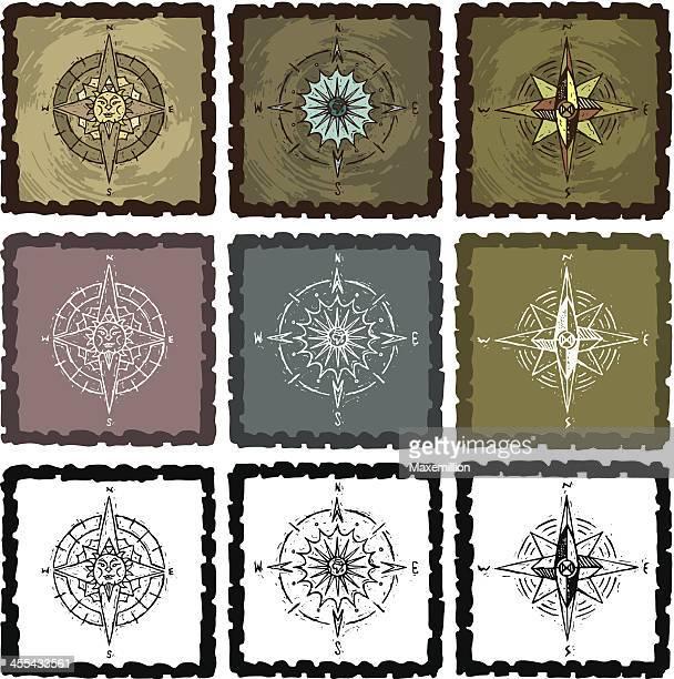 Grunge Sunburst Earth Compasses in Frames