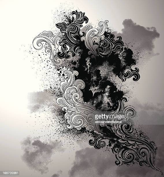 grunge swirls - smoke physical structure stock illustrations, clip art, cartoons, & icons