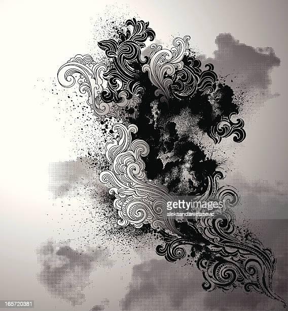 ilustraciones, imágenes clip art, dibujos animados e iconos de stock de grunge espirales - smoke