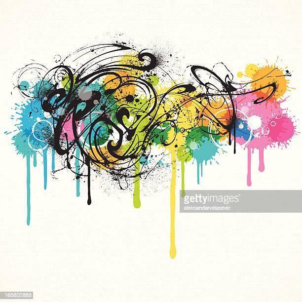 grunge swirls - youth culture stock illustrations