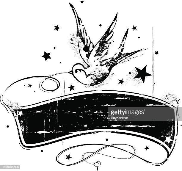 illustrazioni stock, clip art, cartoni animati e icone di tendenza di grunge stile tatuaggio banner di rondine - rock formation