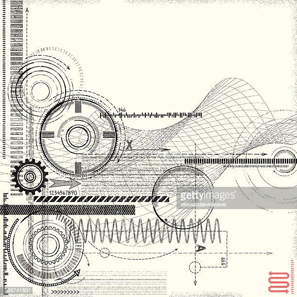 grunge technical drawing - machine part stock illustrations