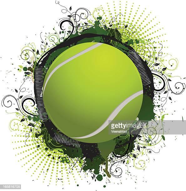 illustrazioni stock, clip art, cartoni animati e icone di tendenza di grunge pallina da tennis - pallina da tennis