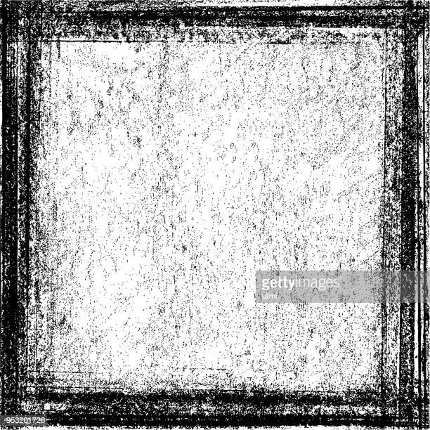 grunge texture background with frame - chalk art equipment stock illustrations, clip art, cartoons, & icons