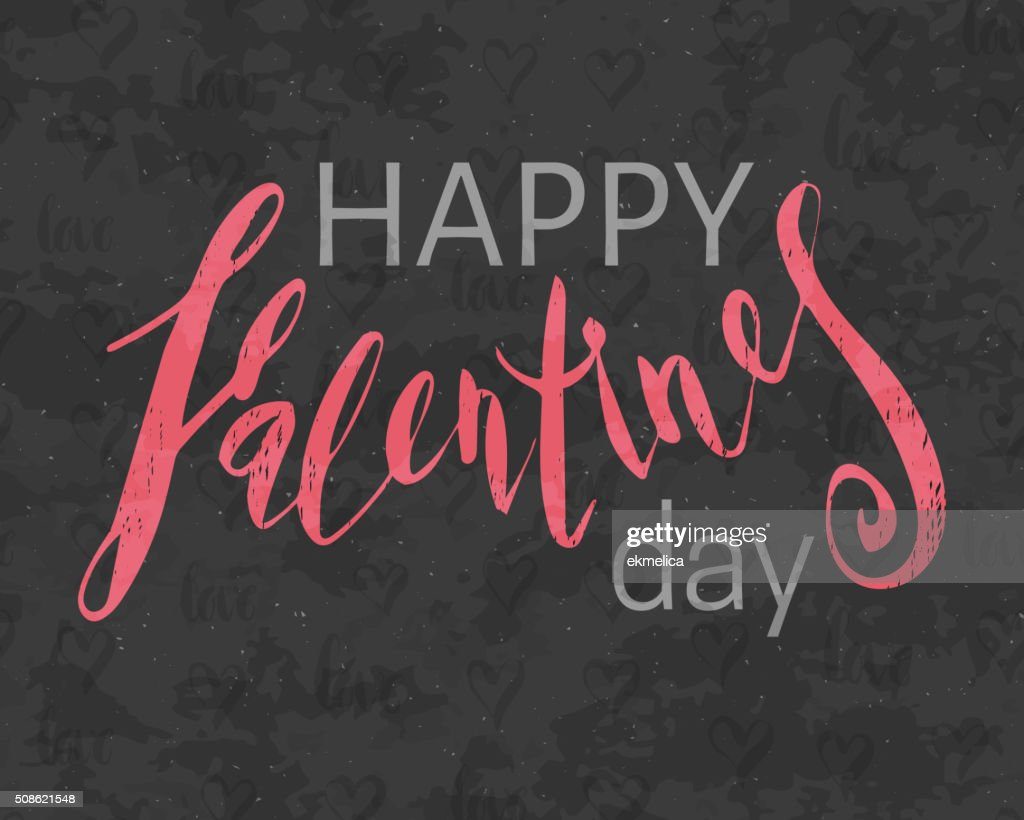 Grunge textured Happy Valentines day inscription. : Vector Art