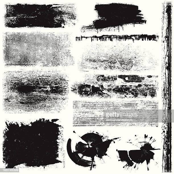 Grunge textured patterns in black and white