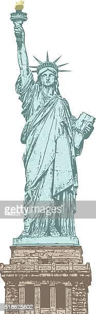 ilustraciones, imágenes clip art, dibujos animados e iconos de stock de grunge con textura de la estatua de la libertad ciudad de nueva york estados unidos - estatua de la libertad
