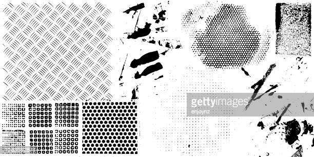 grunge textures and patterns vector - stencil stock illustrations
