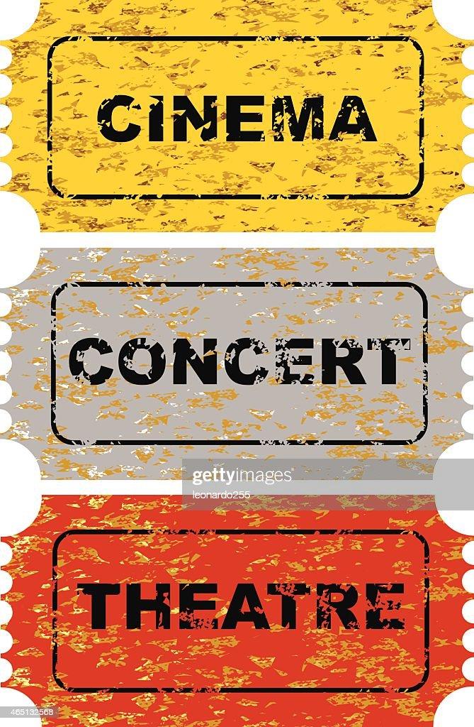 Grunge Ticket set.cinema concert theatre