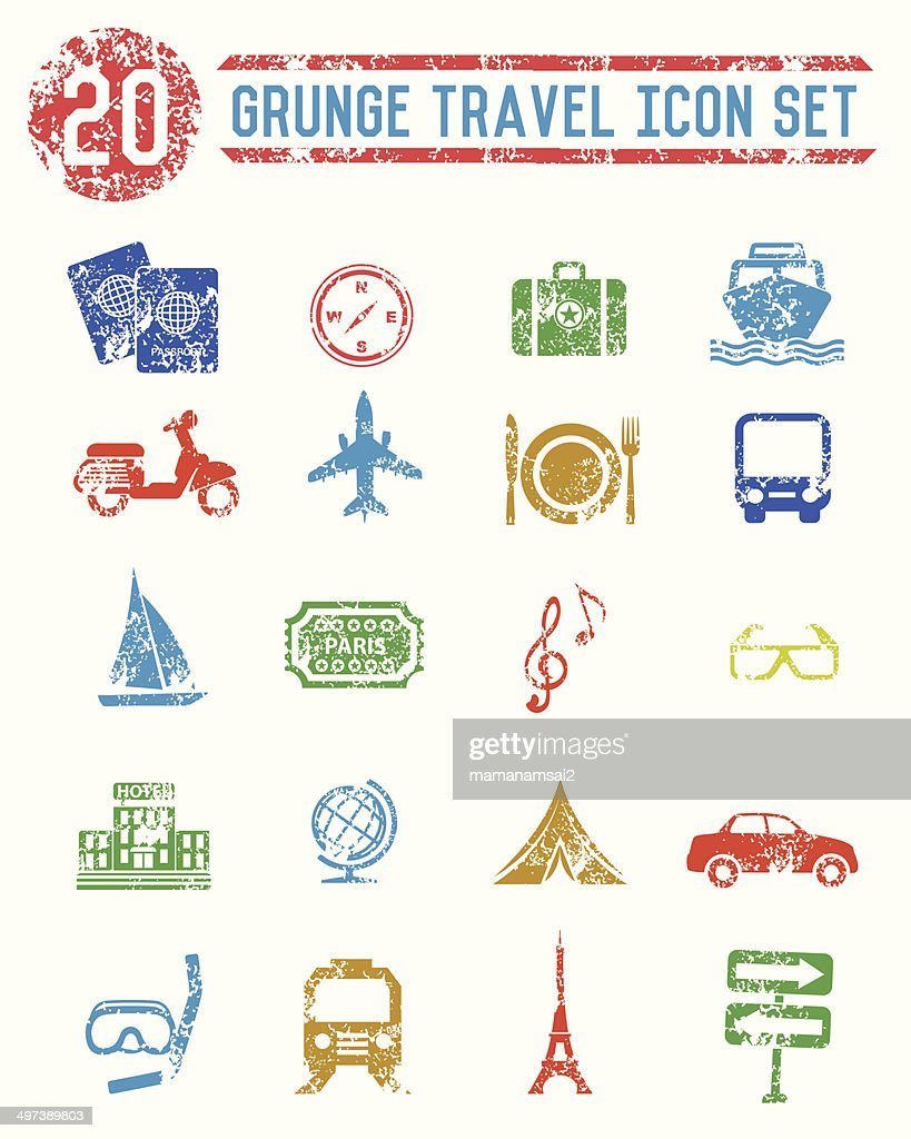Grunge Travel Icons