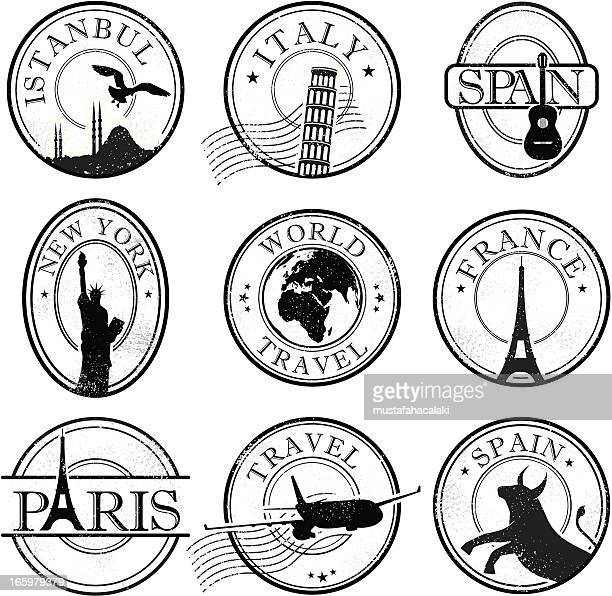 grunge travel stamps - liberty island stock illustrations, clip art, cartoons, & icons