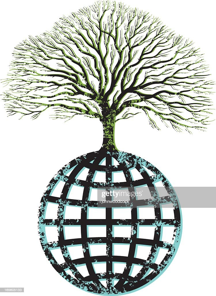 Grunge tree and globe. : stock illustration