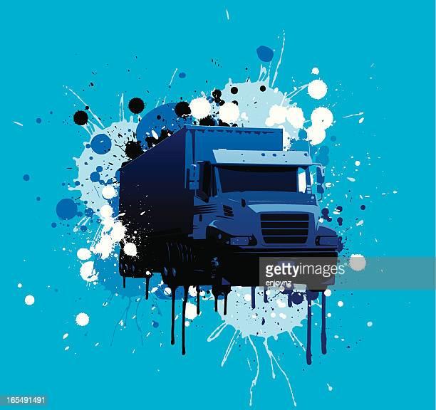 illustrations, cliparts, dessins animés et icônes de camion grunge - chauffeur routier