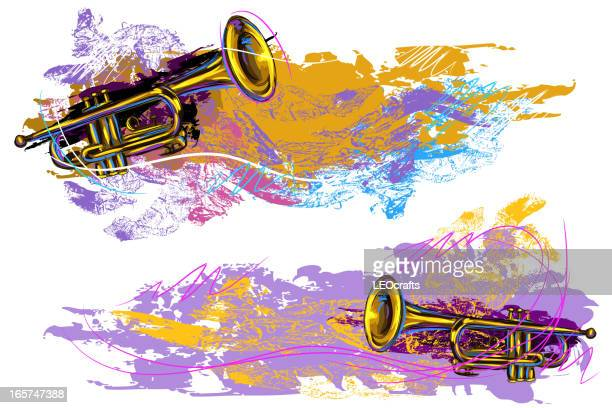 grunge trumpet background/banners - jazz stock illustrations, clip art, cartoons, & icons
