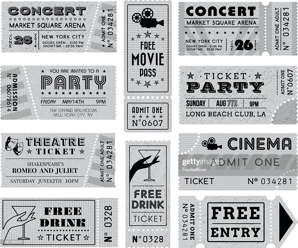 Grunge Vector Grayscale Tickets Collection 3