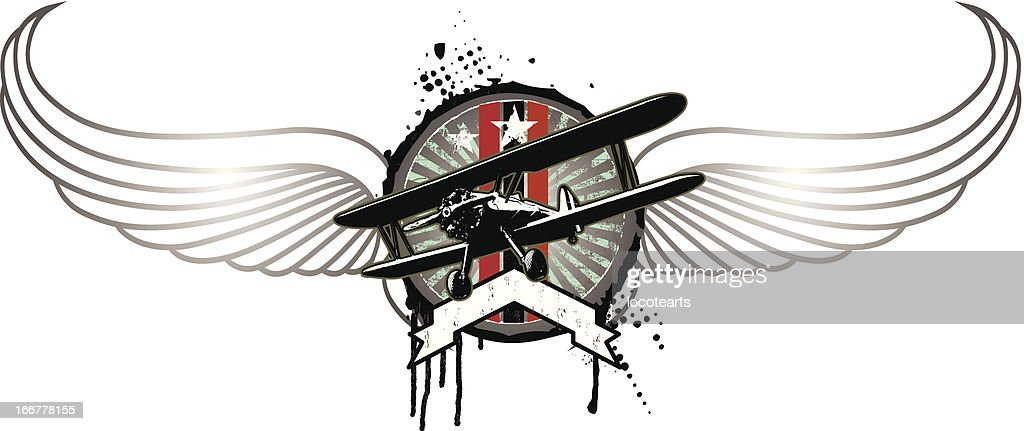grunge vintage shield with plane and wings