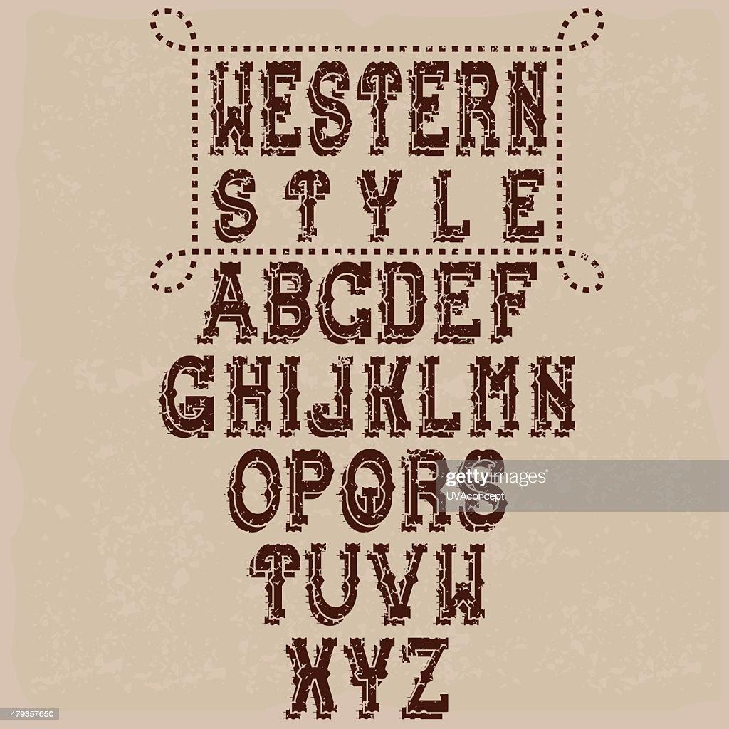 grunge western alphabet