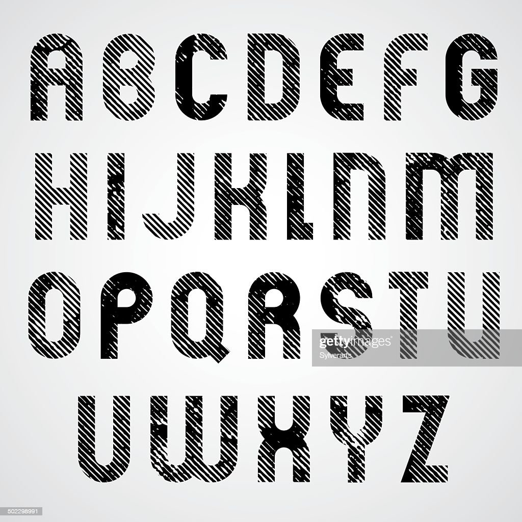 Grunge white and black rubbed uppercase letters
