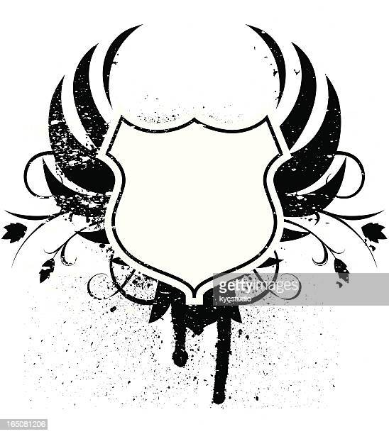 grunge winged blank shield - phoenix mythical bird stock illustrations, clip art, cartoons, & icons