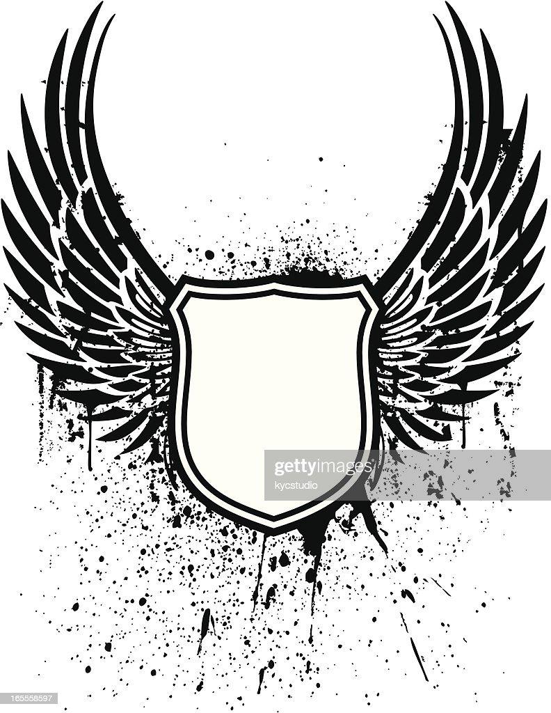 Grunge winged shield tattoo